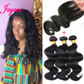 1B 3Bundles Malaysian Body Wave With Closure Bleached Knots8A Malaysian Virgin Hair With Closure Middle Free Part With Baby Hair