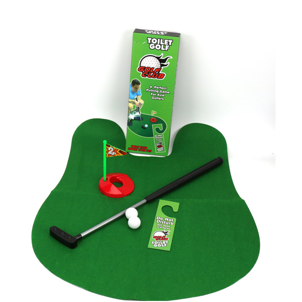 1Set Funny Potty Toilet Golf Bathroom Mini Game Play Putter Novelty Gag Gift Mat Set Kids Joke Toys Drop Shipping