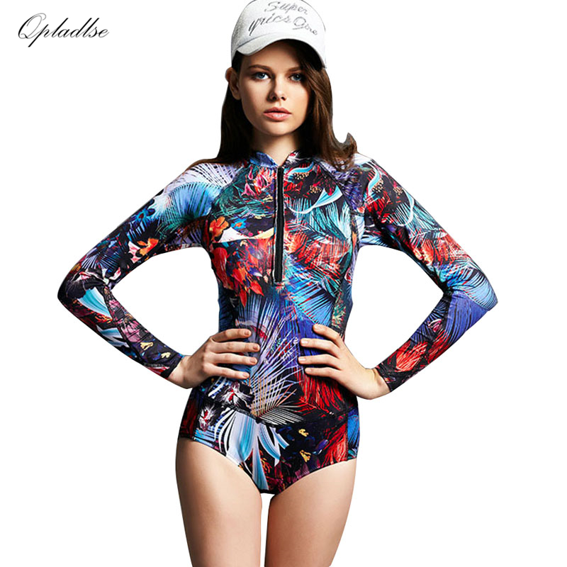Bather One Piece Indoor Swimsuit Long Sleeve Swimwear Women 2018 Plus Size Bathing Suit May Female Beach Sexy Surfing Swim Suits cheap sexy bathing suits swimwear one piece female may beach girls one piece swimsuit 2017 korea black ladies classic high waist
