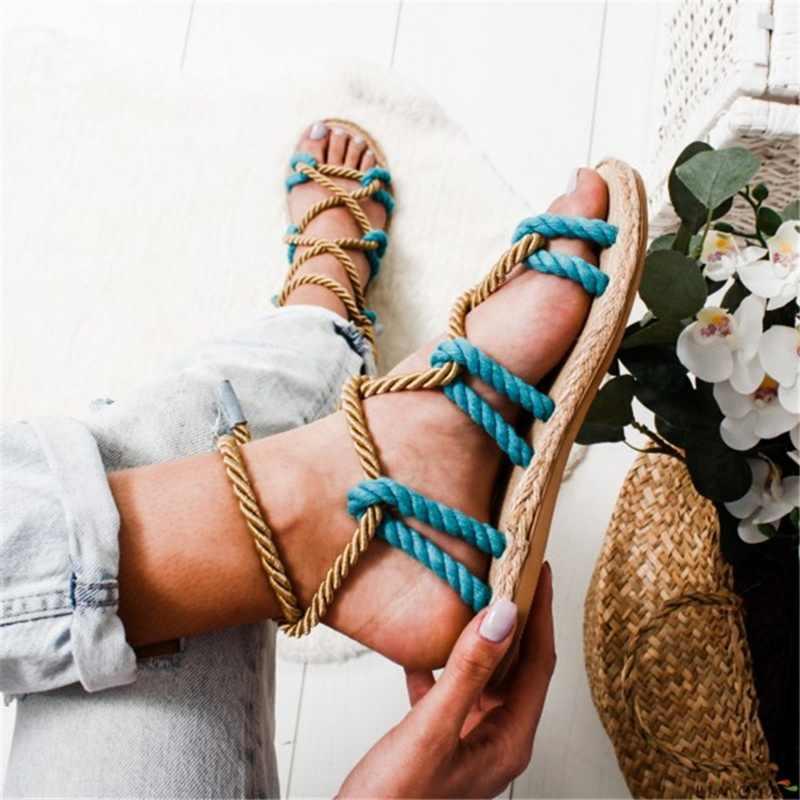 MoneRffi Lace Up Casuals kenevir halat kadın ayakkabı Zapatos De Mujer sandalet Boho sandalet kadın çapraz bağlı sandalet
