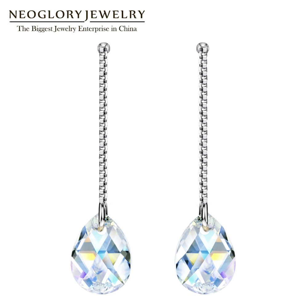 Neoglory S925 Made With Swarovski Elements Long Water Droplets Crystal  Fashion Dangle Earrings For Women 2017