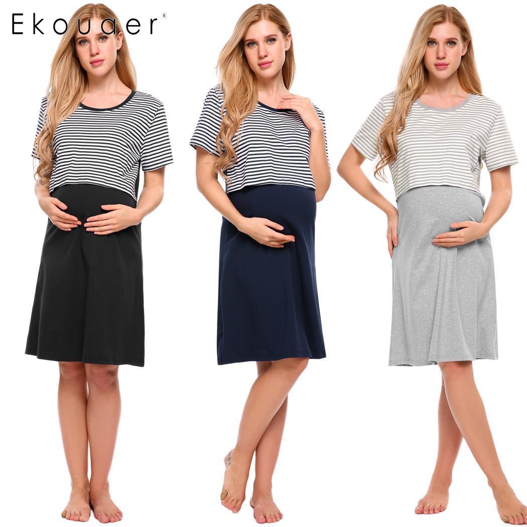Ekouaer Striped Maternity Nightgown Nursing Dress Short Sleeve Women Lounge Sleepwear