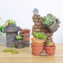 Creative Retro Resin Craft Succulent Flower Planter Flowerpot Mini Bonsai Cactus Desktop Ornaments Balcony Home Garden Decor Hot