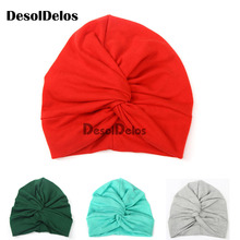 2019 New Designed Cute Baby Hat Cotton Soft Turban Knot Girl Summer Hat Bohemian style Kids Newborn Cap for baby girls цена и фото