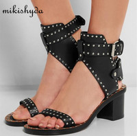 Fashion Design Jaeryn Studded Leather Sandals Rivets Combat Ankle Booties Chunky Heels Open Toe Sexy Summer