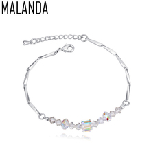 MALANDA Brand 2017 New Square Crystal From Swarovski Bracelet For Women Fashion Silver Color Bracelet Wedding Party Jewelry Gift(China)