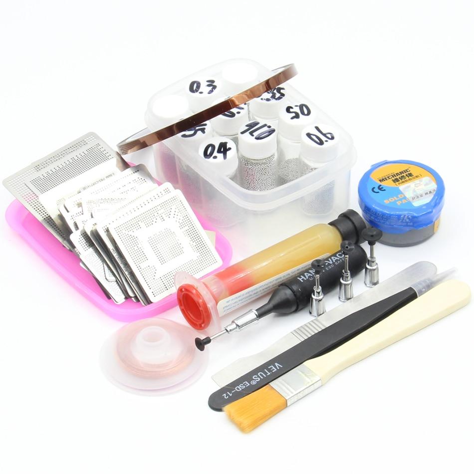 110pcs BGA Reballing Directly Heat Stencils Solder Paste Balls Station BGA Reballing kit For SMT Rework Repair Solder paste Flux pmtc 250k 0 65mm leaded free bga solder ball for bga repair bga reballing kit bga chip reballing