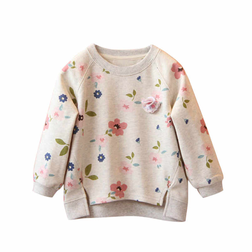 Long Sleeve Girls Tops Winter 2018 Baby GirlsTops And Tees Toddler Kids Baby Girls Floral Printed T-Shirt Tops And Blouses #YL1