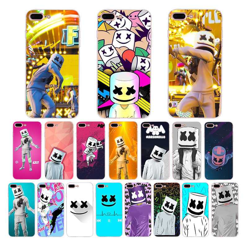 Soft Silicone DJ Marshmello phone case marshmallow for iPhone 6 7 8 6s plus shell X XR XS MAX cover 5 5s se for TPU Apple Coque
