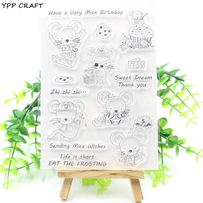 YPP CRAFT Sending Mice Wishes Transparent Clear Silicone Stamp/Seal for DIY scrapbooking/photo album Decorative clear stamp christmas holiday wishes clear silicone rubber stamp for diy scrapbooking photo album decorative craft clear stamp chapter