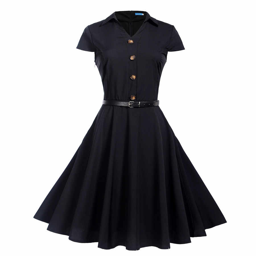 Women Summer Dresses 2019 Office Clothing Robe Vintage 50s 60s Pin Up Big Swing Party Work Wear Rockabilly Dress Vestidos
