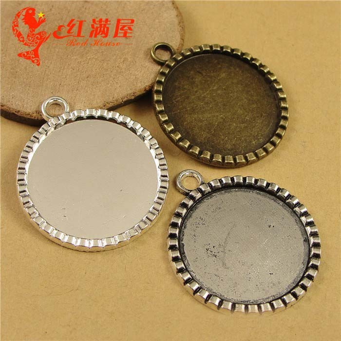 Totally 80 Pieces Set of 80-40 Pieces Silver and Bronze Pendant Trays Round Bezel with with Glass Cabochon 25 mm Blanks Cameo Bezel Cabochon Settings