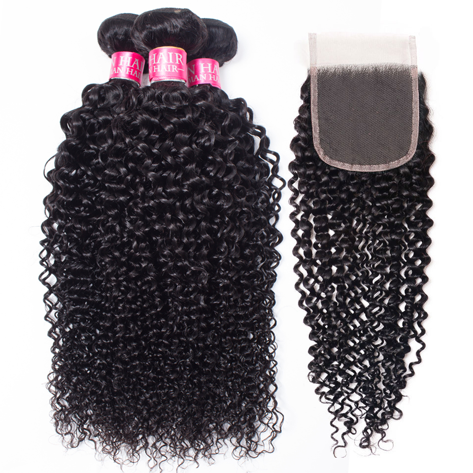 """Beauty Grace Brazilian Hair Weave Bundles 8  26"""" Kinky Curly Bundles With Closure Non Remy Human Hair Bundles With Closure-in 3/4 Bundles with Closure from Hair Extensions & Wigs    1"""