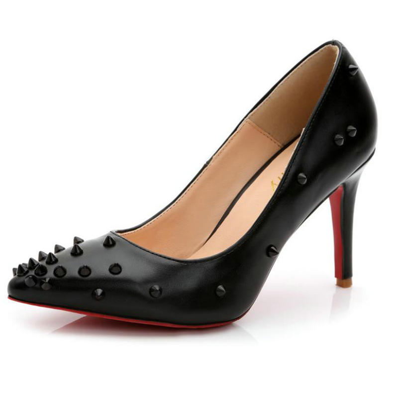 Color Matching Rivet Sexy Pointed Toe High-heeled Shoes Shallow Mouth Fine Heel 9CM Small Size 33 Pump 45 Shoes
