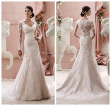 Modest Wedding Dresses with Sleeves 2015 Mermaid New Arrival V neck Dress Long Sleeve See Through Luxury Lace Crystals