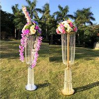 100cm(39) Tall Acrylic Crystal Wedding Centerpiece Road Lead Stand Dinner Party Table Decoration Candlestick 10 Sets