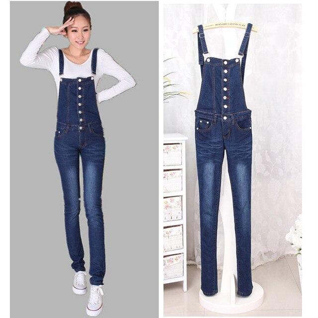 Salopettes mignon pantalons boutons salopette jean slim femmes , plus la  taille pantalons mm 08c57b0e81a