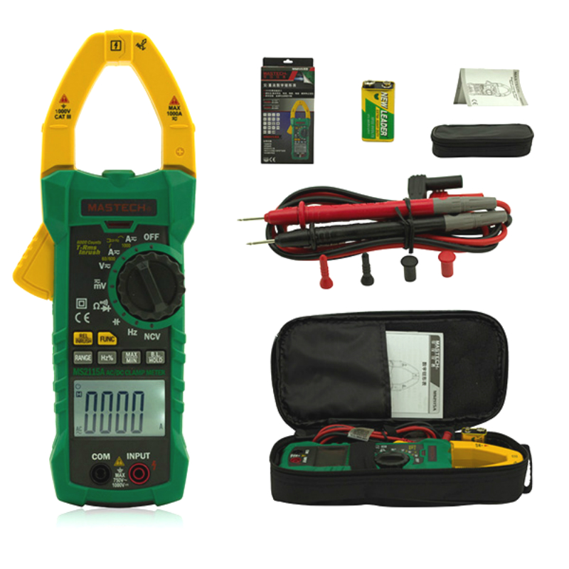 MS2115A Digital Clamp Meter Multimeter DC/AC Voltage Current Resistance Capacitance 6000 Counts True RMS INRUSH NCV Tester digital dc ac clamp meters multimeter true rms voltage current resistance capacitance 1000a tester mastech ms2115a