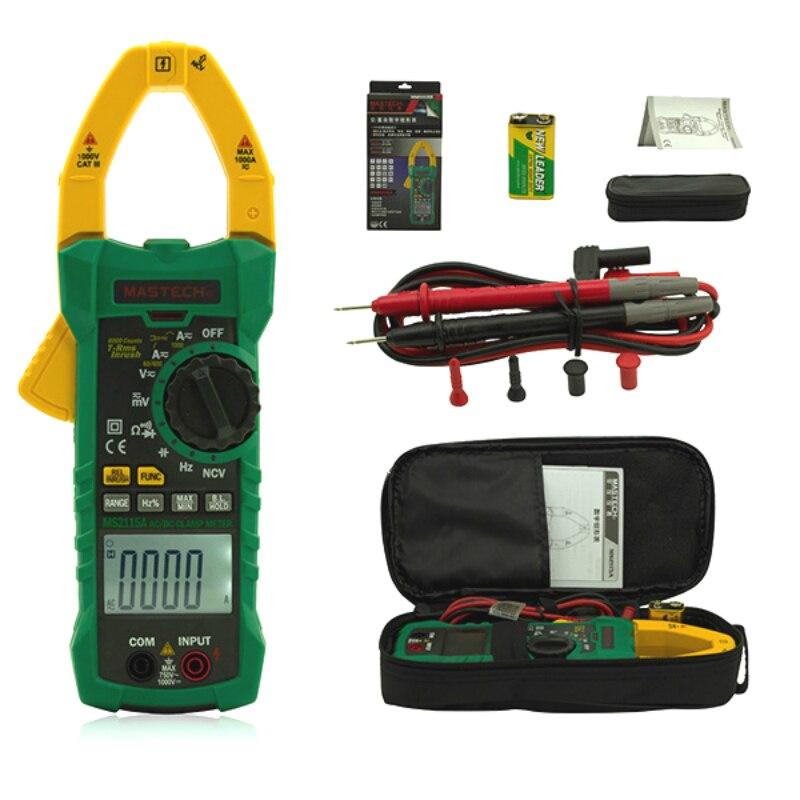 MS2115A Numérique Pince Multimètre Multimètre DC/AC Tension Courant Résistance Capacité 6000 Comtes Vrai COURANT d'appel PCI Testeur