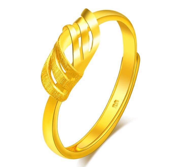 Offre spéciale bijoux fins pur 24 k or jaune bague Unique noeud Design anneau réglable 2.74g