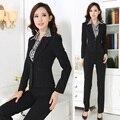 Novo 2017 Senhoras Formais Pant Ternos para Mulheres Trabalho Desgaste Conjuntos Blazer Feminino Profissional de Negócios Roupas Estilos Uniformes Escritório