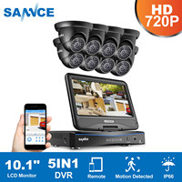 SANNCE 8CH CCTV System 10.1inch displayer DVR 8PCS 720P HD Dome Video Surveillance Home Security Camera System
