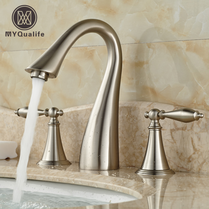 Creative Design Bathroom Mixer Faucet Two Handles 3 Hole Basin Sink Hot Cold Water Taps Brushed Nickel FinishCreative Design Bathroom Mixer Faucet Two Handles 3 Hole Basin Sink Hot Cold Water Taps Brushed Nickel Finish