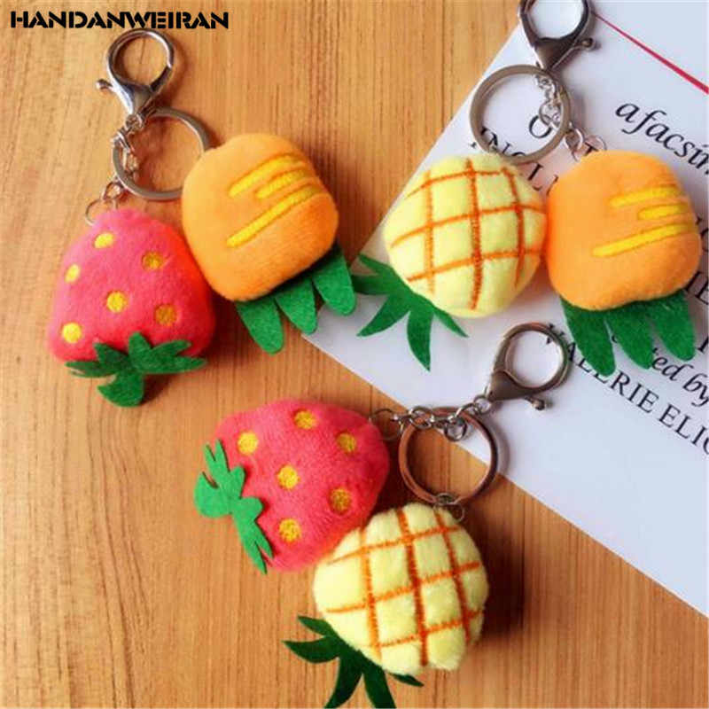 1PCS Mini Plush Carrot Strawberry Pineapple Toys Small Pendant Creative Fruit Vegetables Unisex Stuffed Toy 8CM Throw Pillow New