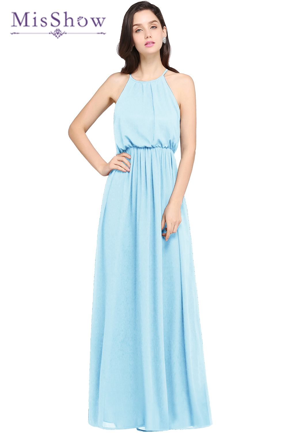 Sky Blue   Bridesmaids     Dresses   Long Elegant Gorgeous Sexy O Neck Floor Length 2018 New Arrival Purple   Bridesmaids