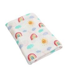 Детское одеяло мультфильм Мягкие 70% бамбуковое волокно 30% хлопок детские печатные Обёрточная бумага Одеяло s пеленать новорожденного Радуга муслиновое одеяло