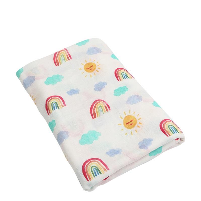 Historieta del bebé suave 70% de fibra de bambú 30% algodón impreso Wrap mantas Swaddle recién nacido Arco Iris manta muselina