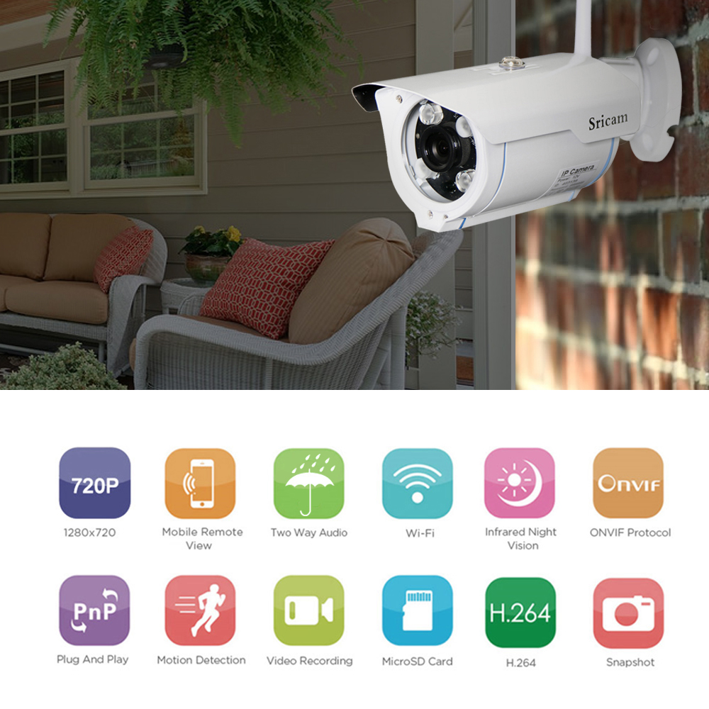 Sricam SP007 WiFi 720P IP Camera Wireless Support Onvif Network P2P Phone Remote View Waterproof Outdoor Smart Home CCTV Camera wistino 1080p 960p wifi bullet ip camera yoosee outdoor street waterproof cctv wireless network surverillance support onvif