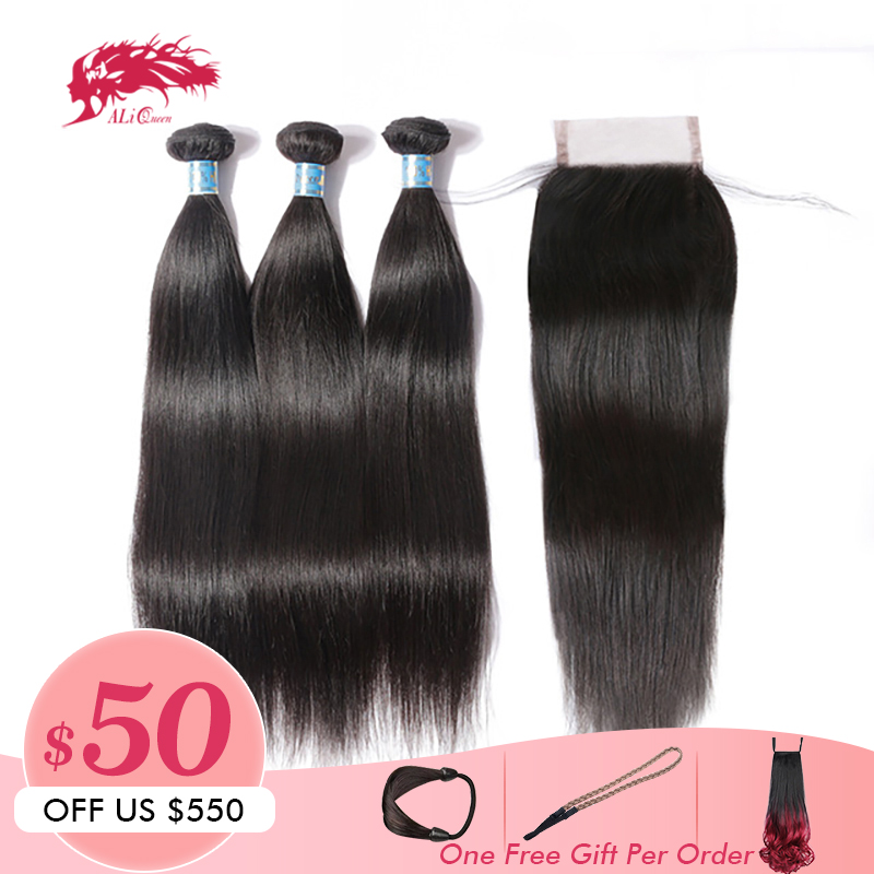 Ali Queen Hair Peruvian Virgin Straight Hair 3 Bundles With Closure Free Part Pre-Plucked Human Hair Lace Closure Natural Color