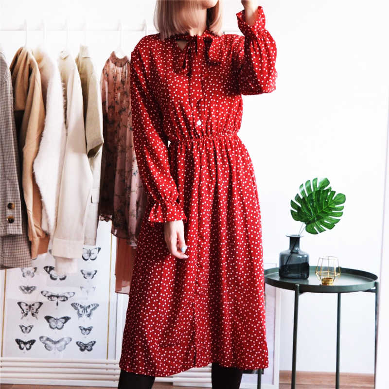 Женское шифоновое платье с принтом повседневное женское эластичная талия длина до колена винтажное платье с оборками с длинным рукавом шикарное женское платье на пуговицах
