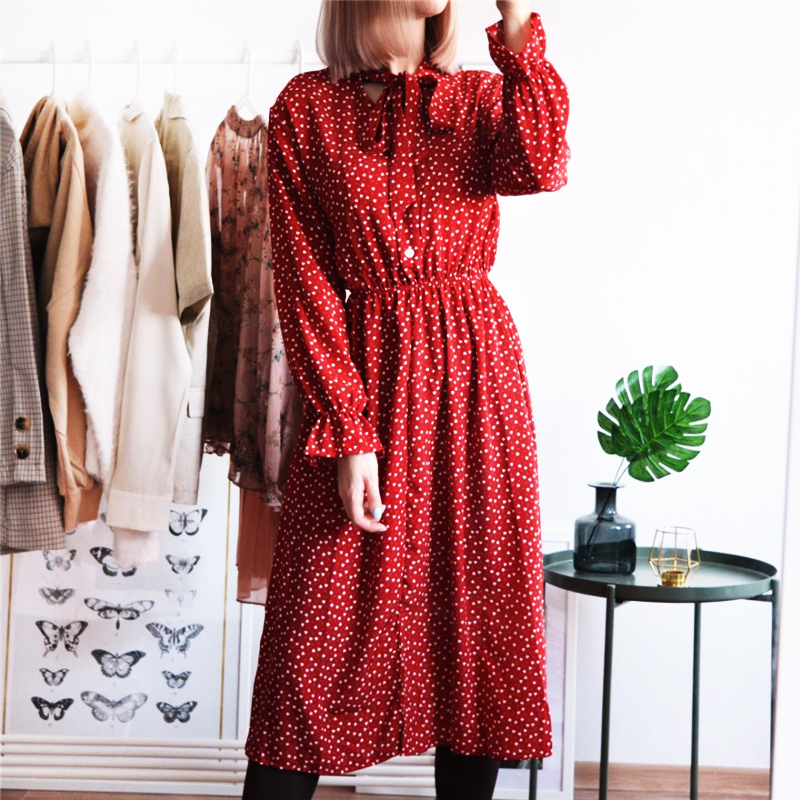 Women Print Chiffon Dress Casual Female Elastic Wasit Keen Length Dress Vintage Ruffles Long Sleeve Chic Button Ladies Dress