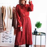 Women Print Chiffon Dress Casual Female Elastic Wasit Keen Length Dress Vintage Ruffles Long Sleeve Chic Button Ladies Dress
