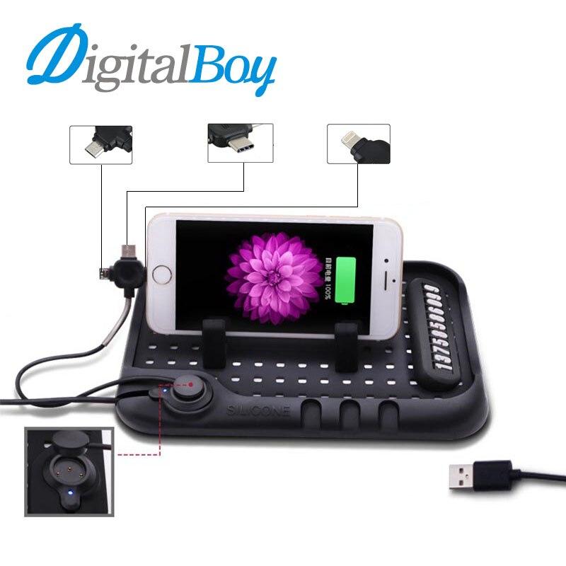 Nouveau Téléphone De Voiture Pad Mobile Tapis Support Universel pour Téléphone dans voiture Réglable Support Stand 3 De Charge Port Mont pour iPhone Type-C