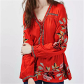 New Arrivals Women Blouse Shirt Embroidery Blusas Ethnic Print Blouse Cotton Fabric Top Casual Blusa Shirts Women Blouses #C16
