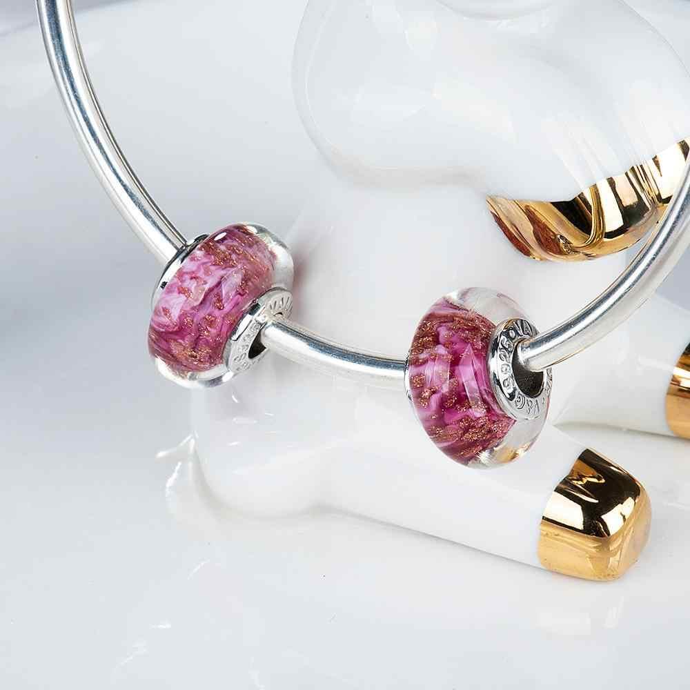 Pequeña estrella de oro murano cuentas de cristal encantos 925 Plata de Ley fit pulseras joyería de moda VDLL035