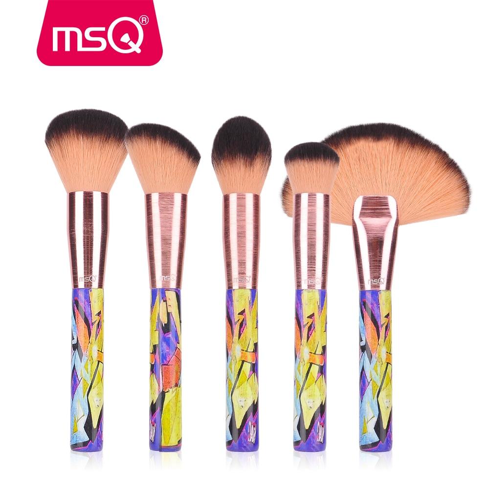 MSQ 5 pcs Maquillage Pinceaux Tréfilage Virole Avec Peinture Bois Poignée Poudre Contour Surligneur Visage Pinceaux de Maquillage Set