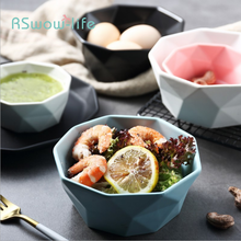 3 Pcs Simple Matte Large Medium and Small Size Ceramic Bowl Black Blue Western Salad Breakfast Noodle Home Kitchen Supplies
