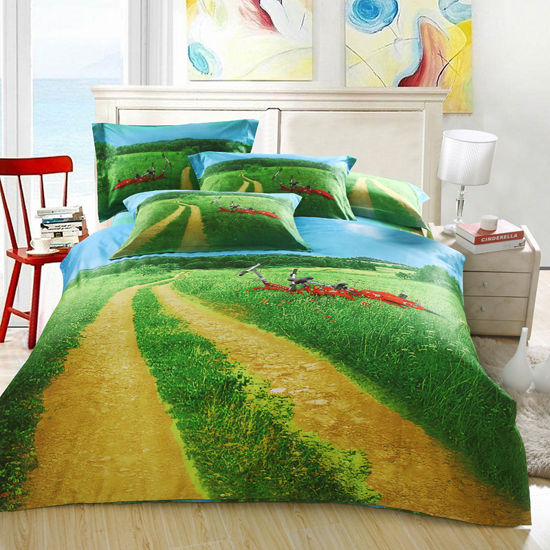3d Green Blue Bedding Sets King Queen Size Quilt Duvet Cover Sheets