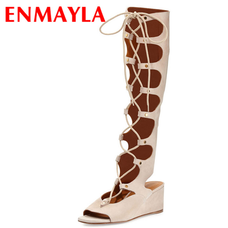 ENMAYLA Fashion Summer Boots Wedges High Heels Ladies Sandals Women's Platform Lace-up Shoes Woman Gladiator Sandals Women Sude  enmayla flowers wedges heels platform sandals women open toe high heels shoes woman solid color ladies sandals female shoes