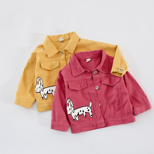 835f72f8e Girls Jacket Long Sleeve Cute Dog Red yellow Autumn Outerwear Coat ...