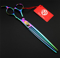 Colorful 8.0 inch Professional Pet Scissors Set Japan 440C Dog Cat Tesoura Pet Grooming Cutting Scissors Shears And Case Bag Kit