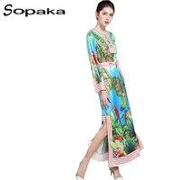 SOPAKA Plus Size S 3XL High Quality Runway Maxi Dress Autumn Bird Flower Printed Sashes A