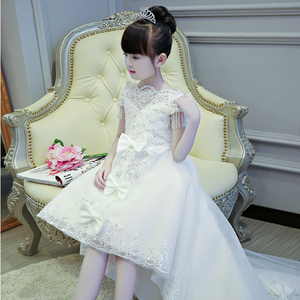Image 2 - 2019 Hot sales Girls Kids First Communion Prince Lace Dresses Sleeveless Ball Gown Court Train Girl Birthday Wedding Dresses