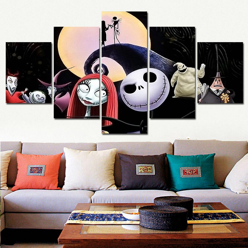 5 Pieces Canvas The Nightmare Before Christmas Modular Pictures panel painting Wall Art poster and prints F227