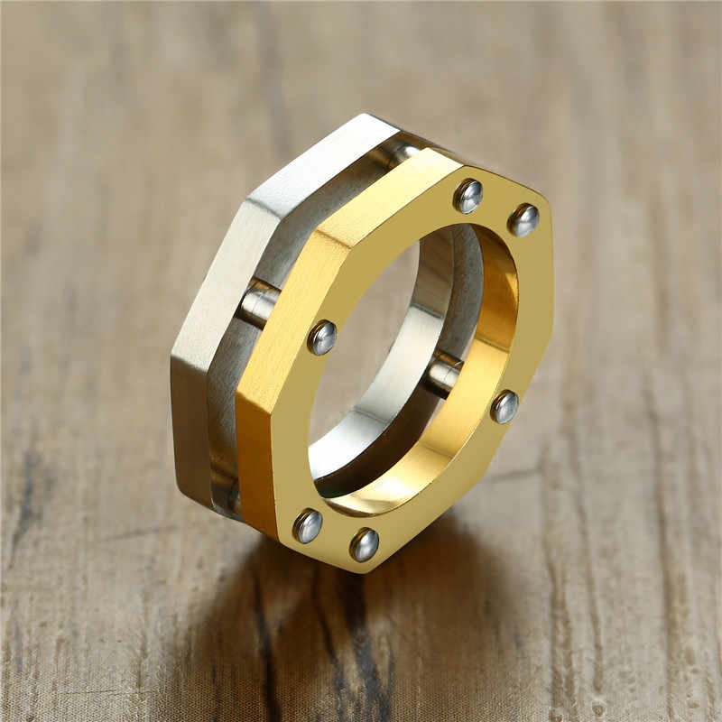 ZORCVENS Gold Silver Color Stainless Steel Ring for Men Geometric Octagon Shape Nail Link Punk Male Band Rock Jewelry