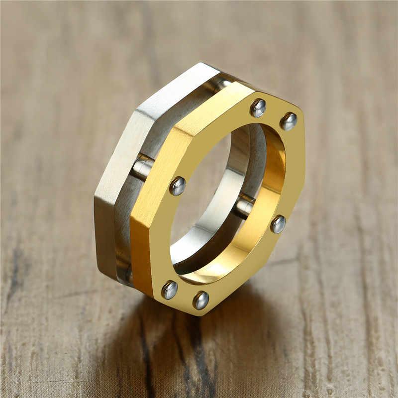 ZORCVENS Gold Silver สีสแตนเลสแหวนผู้ชายเรขาคณิต Octagon รูปร่างเล็บ Link Punk ชาย Band เครื่องประดับ